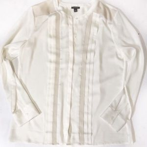 Ann Taylor faux leather cream blouse 12